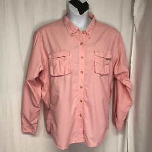 EXOFFICIO XL Blush Pink Vented L/S Top Roll Sleeve
